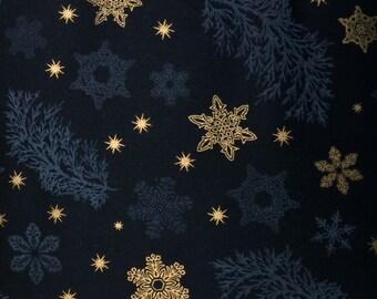 Robert Kaufman - SNOWFLAKES AND PINE (Black) - 100% Cotton Premium Quality Fabric - Per 1/2 Yard