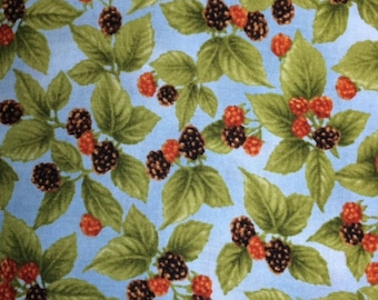 Henry Glass & Co. HARVEST BOTANICAL (Blackberry - Blue) - 100% Premium Quality Cotton Fabric for Quilting - sold by 1/2 yard