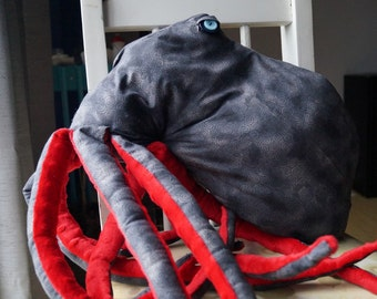Octopus Black and Red Stuffed Animal