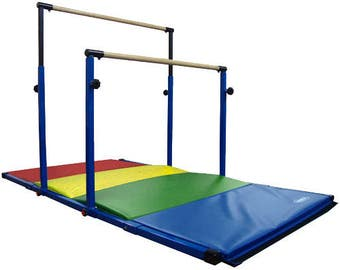 Blue - Rainbow - Adjustable 3Play Gymnastics Uneven Bars / Horizontal Bars - Customizable Tumbling Mat and Kip Bar Combo