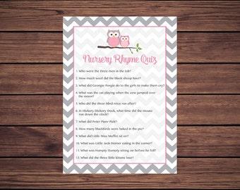 Pink Owl Nursery Rhyme Quiz Baby Shower Game, Nursery Rhyme Baby Shower Game, Gray Grey Chevron Instant Download PDF Printable