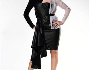 Structured Leather Dress