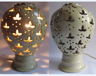 Vintage Table Shelf Lamp Studio Art Pottery Hand Pierced Light Moroccan Style