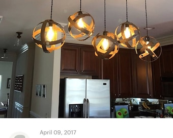 5 orb light chandelier