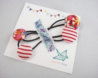 Japanese ponytail holder, set of 2, Stripe, Cherry blossom, Red, ph19