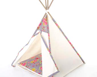 Pet teepee // Grey floral
