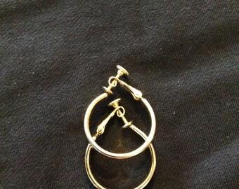Vintage Napier Gold Hoop Earrings
