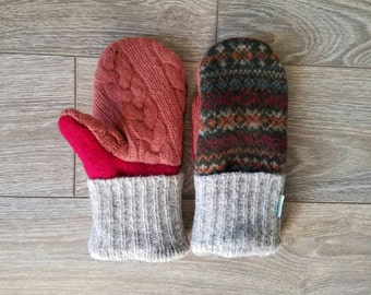 Pattern and Cable Knit Sweater Mittens //LoveWoolies Mittens //Fleece Lined