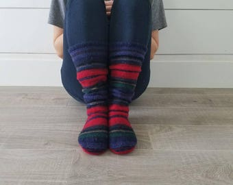 "Red, Blue, and Green Sweater Socks // Size 5-8, 17"" Tall // Cabin Socks // upcycled wool sweater // Washable // Thick felted wool sole"