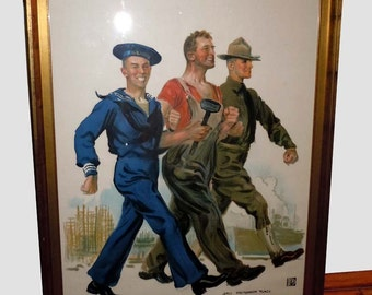 James Montgomery Flagg Together We Win circa 1918 World War I Propaganda Poster Industrial Worker Arm in Arm with the Army and Navy
