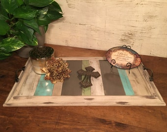 Turquoise Distressed Tray