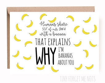 I Like You Card - I'm Bananas About You - Funny Card - I Love You - Banana - Cute I Like You Card - I love You Card - Funny I Like You Card