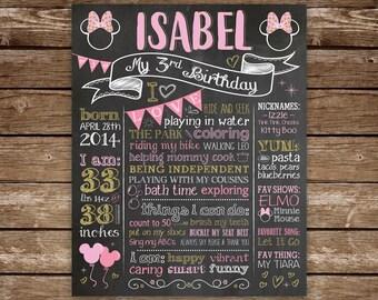 Third Birthday Chalkboard, 3rd Birthday Sign, Minnie Mouse, Birthday Girl, Printable Chalk Poster, Custom Colors, 3rd Birthday Sign