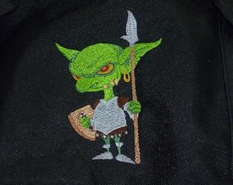 Goblin Bag Embroidered Geoff the Green Goblin Back pack Ruck sack Backpack Rucksack Fairy Folk Bag Drawstring