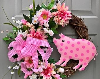 Pink Polka Dot Pig Wreath, Floral Grapevine, Floral Wreath, Pig Wreath