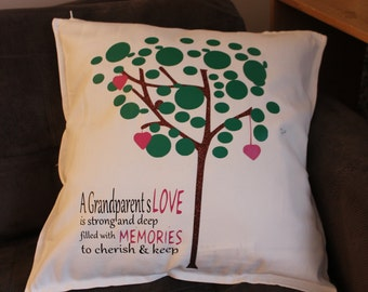 Grandparents Pillow, Love Quote Throw Pillow, Family Tree Pillow, Personalized Family Pillow, Birthday Gift, Christmas Gift, Glitter Pillow