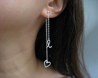 Initial Ear Jacket With Tiny Heart - personalized cursive letter earrings, mismatch studs, nickel free sterling silver - Long