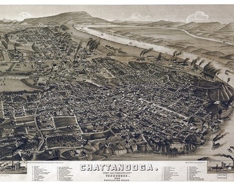 Chattanooga Vintage Map Art Print, Tennessee, Downtown Chattanooga