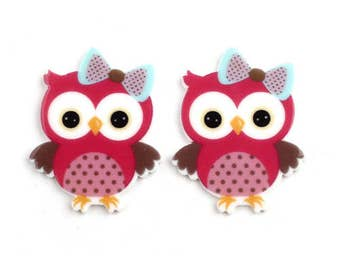 10 pcs Pink Spotted Owl Flatback Resins