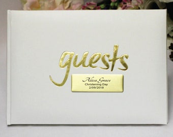 Personalised Christening/Baptism White & Gold Guest Book