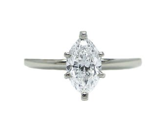 14k White Gold GIA Certified Marquise Diamond Engagement Ring