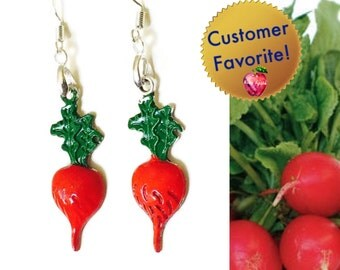 Crunchy Radish Earrings, Hand Painted with 925 Sterling Silver Wires, Red Green Vegetables, Gifts for Gardeners Vegetarians Cooks Chefs