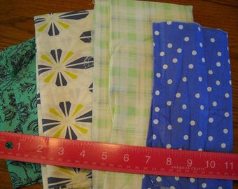 Destash- 4 Cotton Fabric Remnants For Quilting Or Crafting