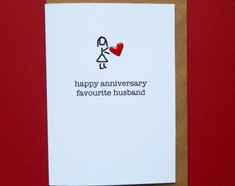 happy anniversary favourite husband, red enamel love heart - Hand-enamelled art card.