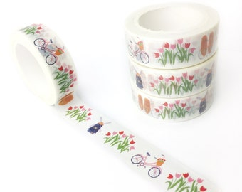 Dutch Washi tape - stationery, stationary, LittleLeftyLou, Snail Mail, Happy mail, pattern, masking tape, 10 meter, wooden shoes, tulips