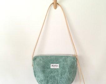 SEA GLASS / waxed canvas crossbody bag