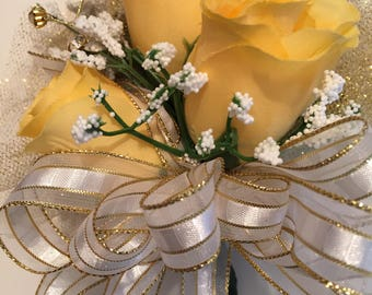 50th Anniversary Corsage, Yellow Corsage, Golden Anniversary Corsage