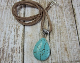 Turquoise Pendant Necklace, Teardrop Turquoise Necklace, Howlite Turquoise Jewelry, Boho Pendant Necklace, Gift for Sister