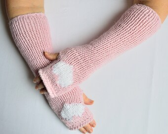 Hand knitted women's wrist warmers with heart decorations