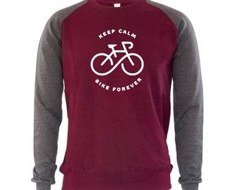 Keep Calm Bike Forever Mens Sweatshirt Jumper Bicycle Cycling Bike Cycle Gift