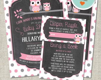 Owl Baby Shower Invitation, Owl Invitation, Owl, Pink, Gray, Polka Dots, Branch | DIY