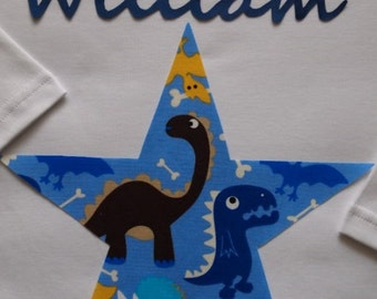 Pyjamas, Personalised with Childrens names and with a Blue Dinosaur Star Trim