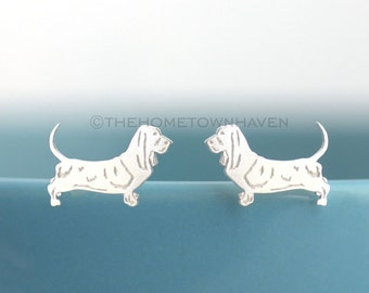 Basset Hound Earrings - Small dog breed jewelry, Basset Hound studs, pet rescue jewelry