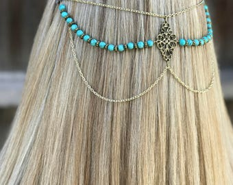 Turquoise Hair Accessory, Head Chain Accessory, Hair Jewelry, Turquoise Head Chain, Burner Hair Accessory