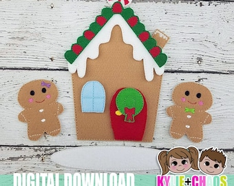 Build a Gingerbread House Felt Board ITH Embroidery Design