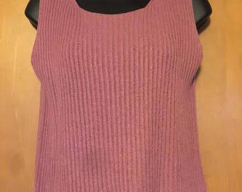 Sarah Chapman Ribbed Mauve Sleeveless Shell Sweater in Misses MEDIUM