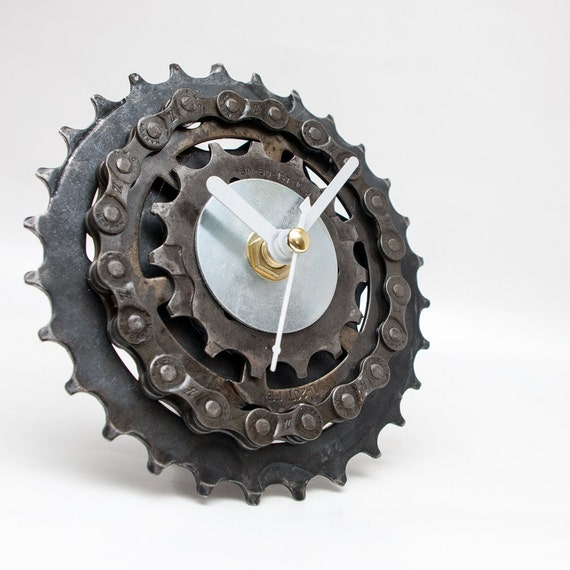 Small Desk Clock, Father Gift, Boyfriend Gift, Bicycle Clock, Unique Clock, Industrial Clock, Husband Gift, Unique Gift, Dad Gift