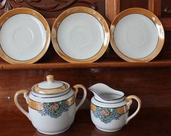 Noritaki Chikaramachi Cream Sugar and Saucers, White Orange Lusterware, 1930s Replacement China