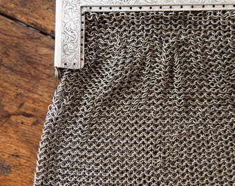 Antique French Silvered Crocheted Mesh Purse - Shabby Chic - Free Shipping Within the USA