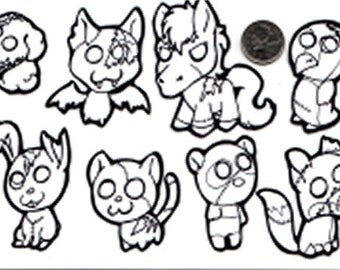 Color Your Own Zombie Animal Stickers