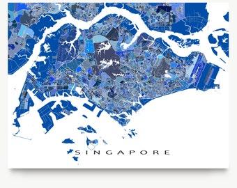 Singapore Map, Singapore Print, Asia City Map, Travel Art
