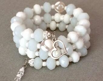 White Bead Bracelet,White Memory Wire Bracelet,White Beaded Cuff Bracelet,Summer Bracelet,Wedding Bracelet,Beaded Wrap Stack Layer Bracelet