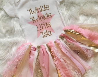 Twinkle Twinkle Little Star Birthday Outfit // Baby Girl Birthday Outfit // Twinkle Twinkle Little Star / Pink and Gold Star Birthday Outfit