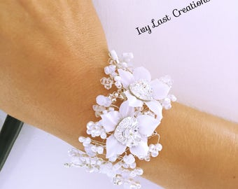Wedding white silk flower vine bracelet