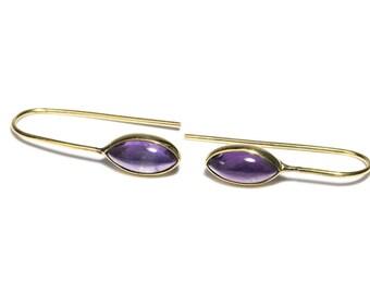 Amethyst Gemstone and Brass Hook Earrings Gemstone Earrings Simple Earrings Modern Free UK Delivery Gift Boxed BHG1