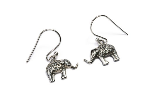Dainty Sterling Silver Elephant Earrings, handmade, Nature Earrings with hooks, Gift boxed,Free UK post